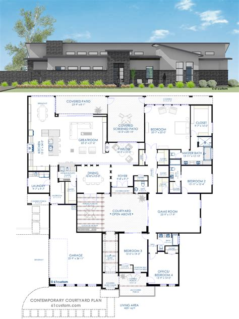 Modern House Layout by Contemporary Courtyard House Plan 61custom Modern
