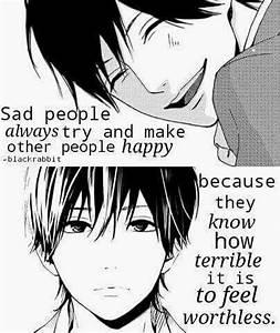 """Sad peopl... Anime Boy Quotes"