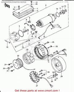 Kawasaki 1977 Kz650-b1 Generator  Starter Motor