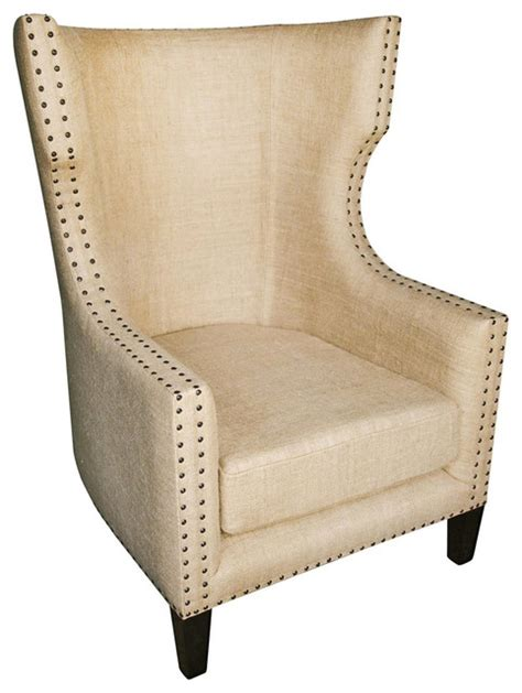 sinclair country burlap nailhead wing back accent