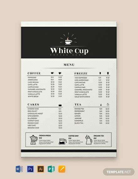 coffee menu template word  psd indesign