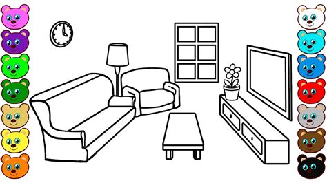 Coloring Living Room by Living Room Furniture Coloring Pages Wallpaperall