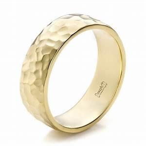 Custom Men39s Hammered Yellow Gold Wedding Band 100269