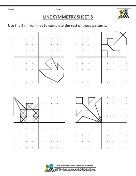 symmetry worksheets math salamander com maths
