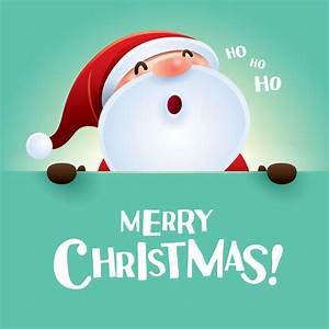 Merry christmas postercard with santa cute vector free ...