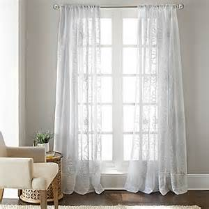 gerbera daisy sheer window curtain panel in white bed