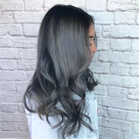 dark grey hair  black roots hair   grey hair