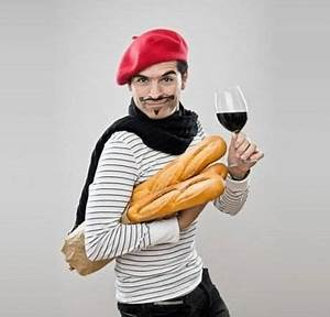 The typical french man in cartoons and movies. He wears a ...