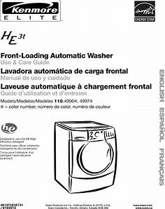 Kenmore Elite 11049962600 User Manual Washer Manuals And Guides L0612476