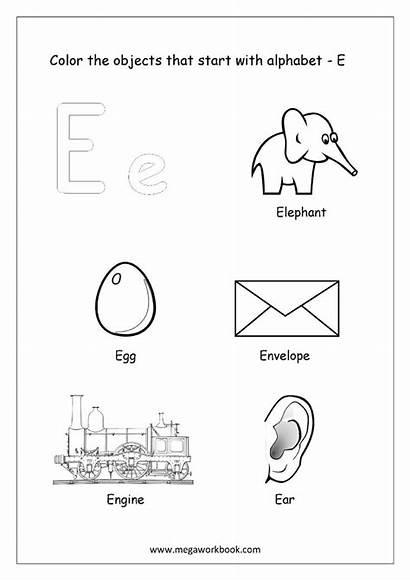 Start Objects Alphabet Coloring Printable Kindergarten Worksheets