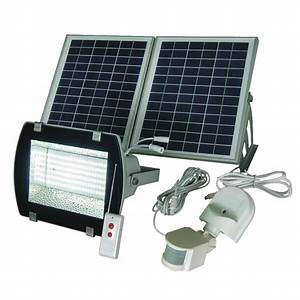 Led solar flood light w remote motion sensor