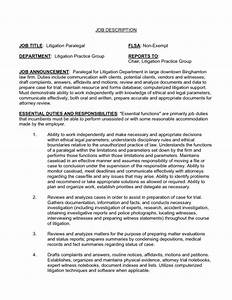 litigation paralegal resume template With good description for resume