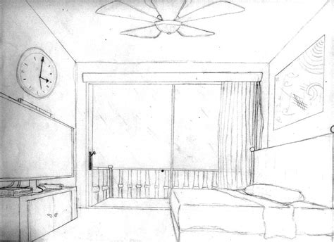 Drawing A Bedroom In One Point Perspective by 1 Pt Perspective Bedroom By Loreto Arts On Deviantart