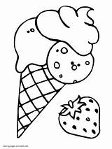 Ice Cream Coloring Kleurplaat Kleurplaten Ijs Cone Strawberry Colorear Aardbeien Sheet Helado Ijsjes Fresa Leukekleurplaten Icecream Printable Dibujosparaimprimir Truskawkowe Lody sketch template