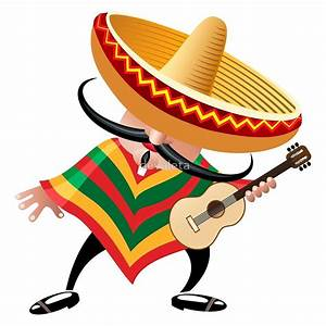 """""""mexican musician in sombrero with guitar drawn in cartoon"""