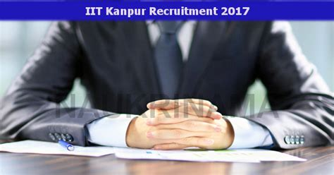 Iit Kanpur Assistant Project Manager Job Opening 2017