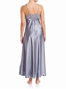 lyst jonquil lace trim nightgown in gray