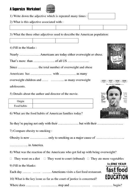 Movie Worksheet Super Size Me  Health Class  Worksheets, Grammar Worksheets, Classroom
