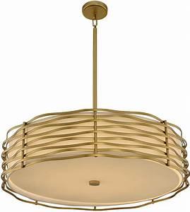 Retro drum pendant lighting : Kalco vbr paloma modern vintage brass led drum