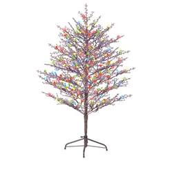shop ge 5 ft indoor outdoor pre lit winterberry brown artificial christmas tree with 200 count