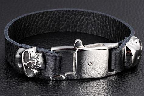 mens leather bracelets designer designer leather bracelets skull mens designer