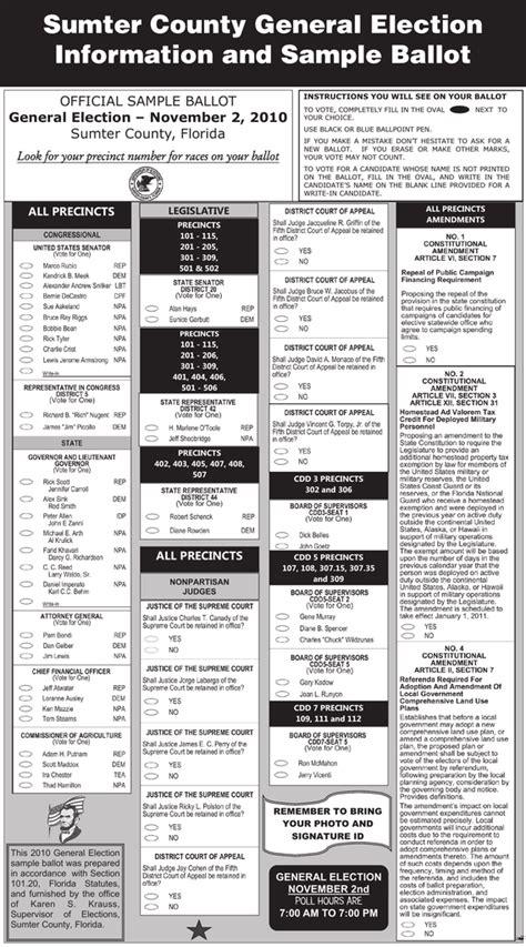 sumter county general election information  sample ballot