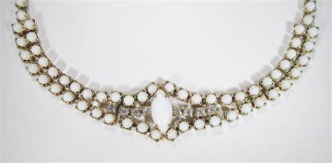 vintage milk glass rhinestone choker necklace wc