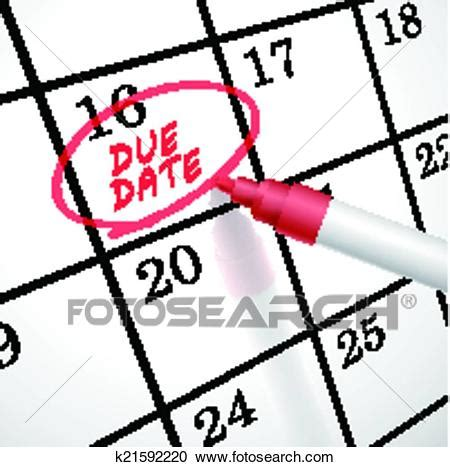 due date words circle marked   calendar clipart