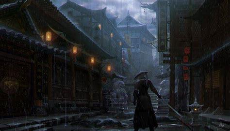 Imperial City, Samurai, Artwork, Rain Wallpapers Hd