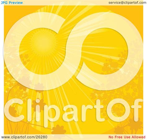 Clipart Illustration of a Bright Yellow Sun Shining Over ...