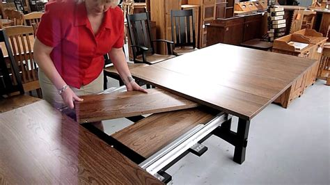 amish dining table with self storing leaves how amish dining table leaf storage works youtube