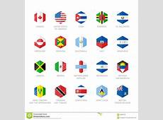 North America And Caribbean Flag Icons Hexagon Flat