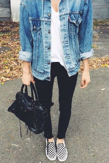 Picture Of black jeans a white tee a denim jacket checked slip ons