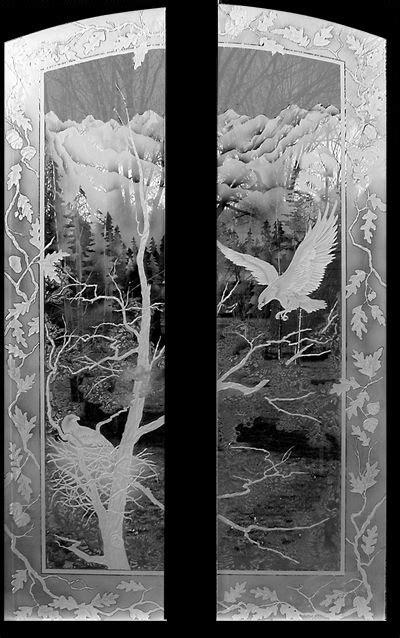 glass etching designs for kitchen etched flying eagle mountain landscape doors doorways 6820