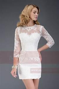robe de cocktail blanche avec manches en dentelle c508 With robe de cocktail combiné avec bracelet nato 20