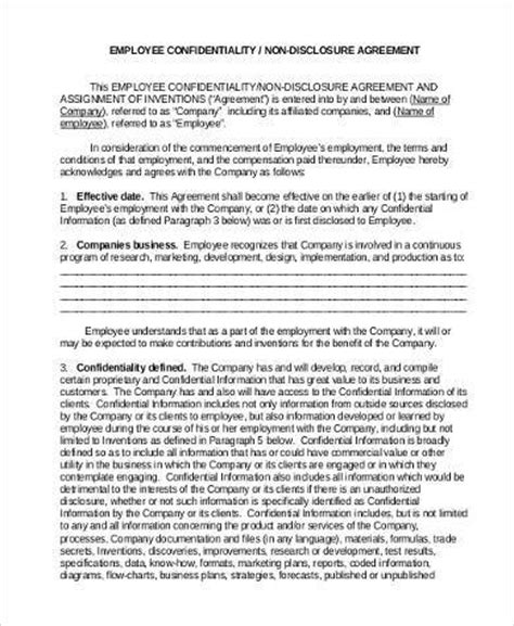 Employee Confidentiality Agreement Business Forms by Confidentiality Agreement Form Sles 9 Free Documents