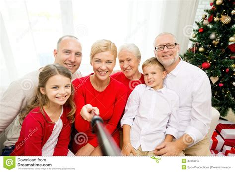picture at selfie smiling family making selfie at home stock image image