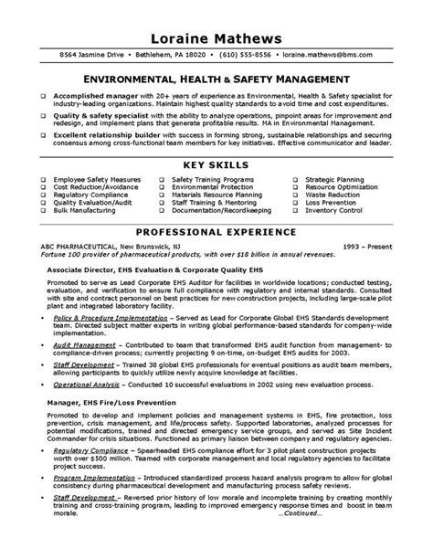 environmental health safety sample resume job resume