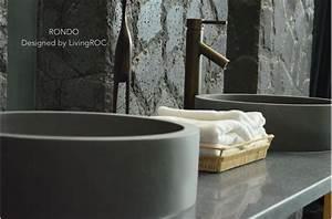 16quot round bathroom sink gray basalt natural stone rondo With vasque salle de bain en pierre naturelle