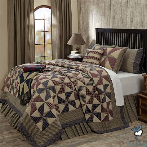 country quilt bedding sets blue pinwheel primitive americana patriotic cotton