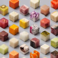 a variety of unprocessed foods cut into uncannily precise 2 5cm cubes by lernert sander colossal