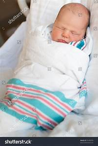 Sleeping Newborn Baby Boy Warped Hospital Stock Photo ...