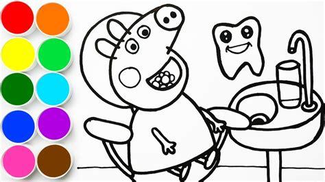 como dibujar  pintar peppa pig en el dentista dibujando