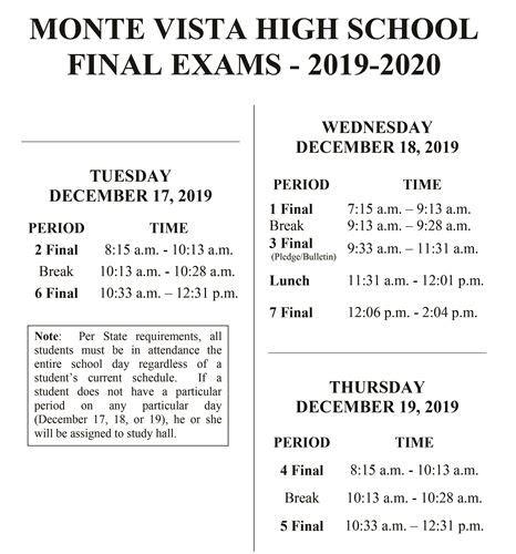 monte vista high school bell schedules