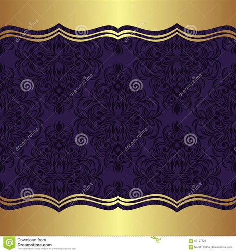 elegant damask background  golden borders stock vector