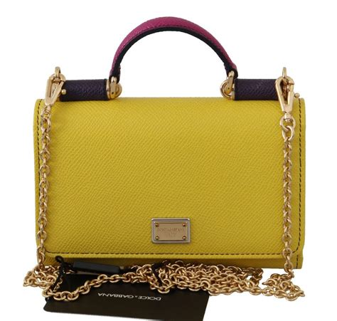 dolce gabbana yellow leather hand borse phone sicily von purse va handbags