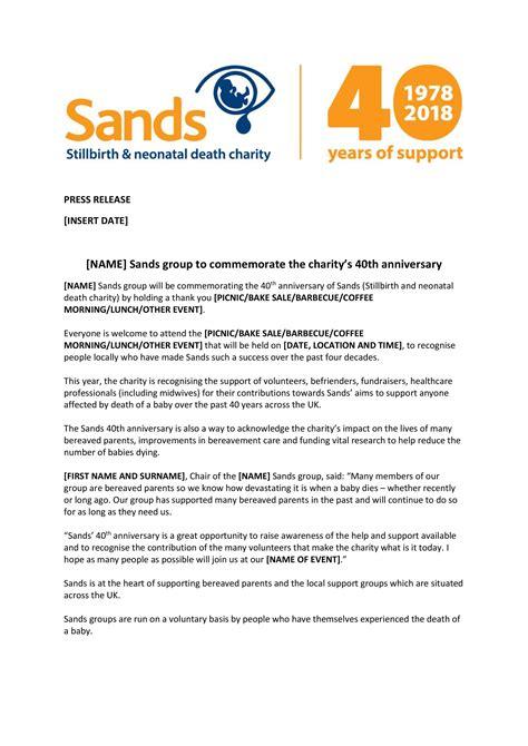 press release template  sands groups sands