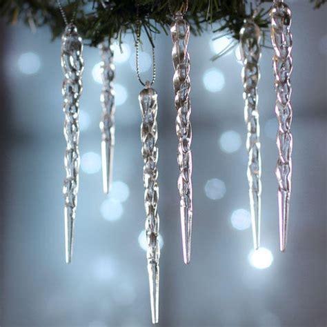 crystal clear acrylic icicle ornaments christmas and