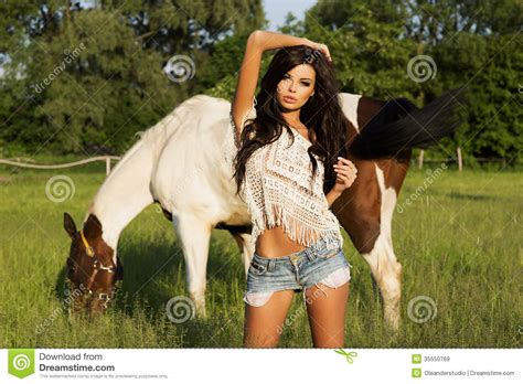Attractive Brunette Beauty Posing Stock Image Image Of