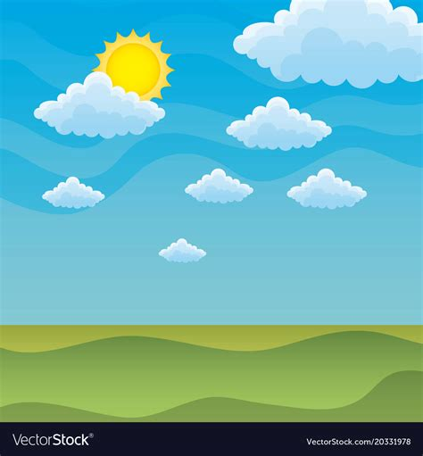 green hills covered  grass   sunny sky vector image